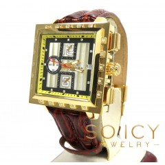 Mens Aqua Master Genuine Diamond Yellow Square Watch 0.20ct
