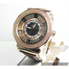 Mens Aqua Master Genuine Diamond Rose Carbon Watch 0.20ct