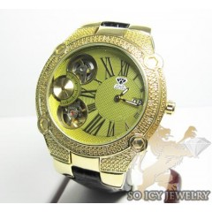 Mens Aqua Master Genuine Diamond Yellow Tourbillon Watch 0.20ct