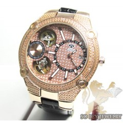 Mens Aqua Master Genuine Diamond Rose Tourbillon Watch 0.20ct