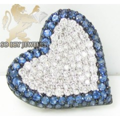 Blue Sapphire Heart Pendant 18k White Gold 1.65ct