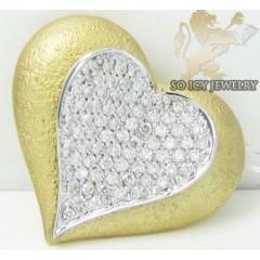 14k Two Tone Gold Antique Heart Diamond Pendant 0.60ct