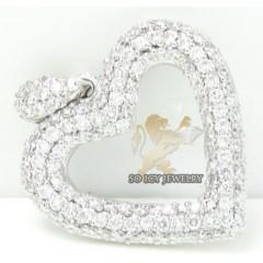 Ladies 18k White Gold Diamond Heart Pendant 0.60ct