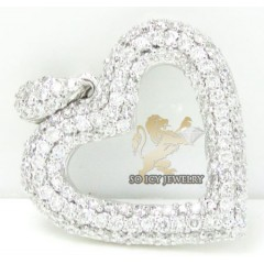 Ladies 18k White Gold Diamond Heart Pendant 0.60ct