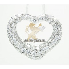 Ladies 18k White Gold Diamond Heart Pendant 0.67ct
