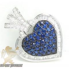 Ladies 18k White Gold Blue Sapphire Diamond Heart Pendant 2.39ct