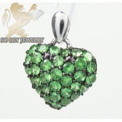 Ladies 18k White Gold Green Sapphire Mini Heart Pendant 0.48ct