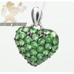Ladies 18k White Gold Green Sapphire Mini Heart Pendant 0.48ct