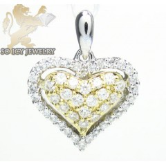 18k two tone gold mini diamond heart pendant 0.44ct