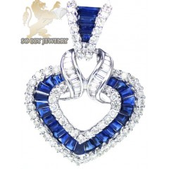 18k White Gold Blue Sapphire Fashion Heart Pendant 2.92ct
