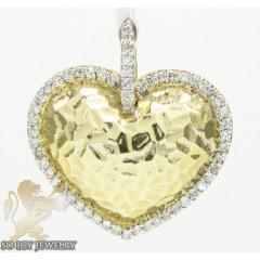 14k Yellow Metallic Gold Diamond Heart Pendant 0.32ct