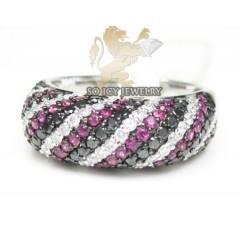 Ladies 14k White Gold Diamond Swirl Ring 1.59ct