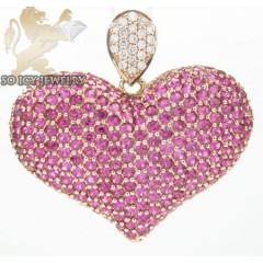 Ladies 14k Rose Gold Purple Ruby Heart Pendant 2.31ct