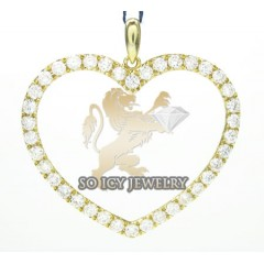 Ladies 18k Yellow Gold Diamond Heart Pendant 1.17ct