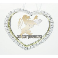 14k Yellow Gold Round Diamond Heart Pendant 0.67ct