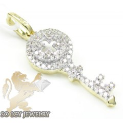 Ladies 14k Yellow Gold Diamond Key Pendant 0.15ct