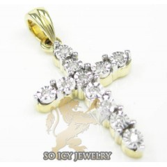 Ladies 14k Yellow Gold Diamond Cut Bezel Cross 0.17ct