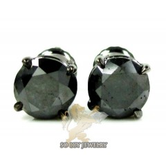 14k Solid Black Gold Black Round Diamond Studs 2.00ct