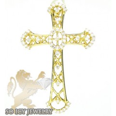 Ladies 14k Yellow Gold Round Diamond Cross 0.29ct