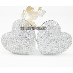 Ladies 10k White Gold Diamond Pave Heart Earrings 1.50ct