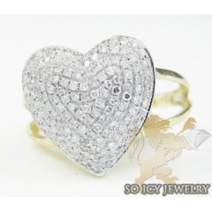 Ladies 14k Yellow Gold Diamond Heart Ring 0.50ct