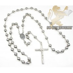 .925 silver rosary italy necklace 36.25 inches 7mm