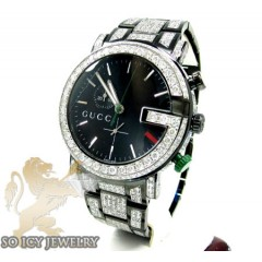 Diamond Gucci G Watch Black Stainless Steel 9.00ct