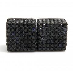 10k Black Gold Black Diamond Pave Earrings 1.78ct
