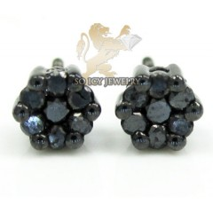 10k Black Gold Black Diamond Pave Studs 0.32ct