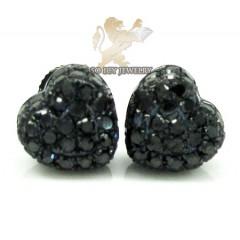 10k Black Gold Black Diamond Pave Heart Earrings 0.66ct