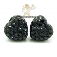 10k Black Gold Black Diamond Pave Heart Earrings 0.66ct