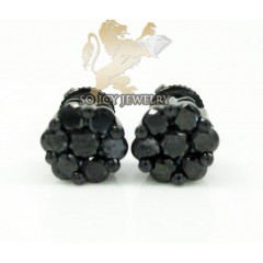 10k Black Gold Black Diamond Pave Earrings 0.70ct