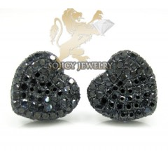 10k Black Gold Black Diamond Pave Heart Earrings 1.25ct