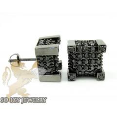 10k Black Gold Black Diamond Pave Earrings 2.75ct