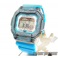 Mens Cz G-lide Aqua Blue G-shock Watch 4.00ct