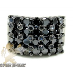 Mens 14k Black Gold Black Diamond Cluster Ring 4.00ct