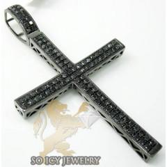 10k Black Gold Black Diamond Pave Cross 3.00ct