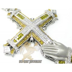 10k White Gold Yellow Diamond Praying Hands Mens Cross 6.00ct