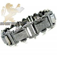 6.00ct 10k Solid Black Gold Round Diamond Mens Bracelet