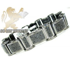 3.75ct 10k Solid Black Gold Black Diamond Mens Bracelet