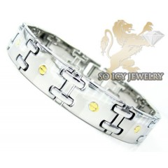 White Stainless Steel Yellow Screw Link Bracelet