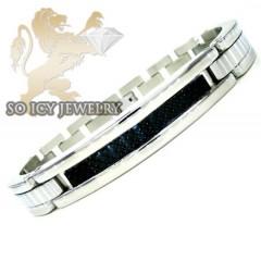 White Stainless Steel Black Carbon Fiber Link Bracelet