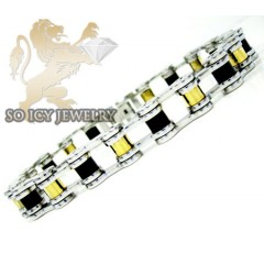 Three tone stainless steel bicycle chain bracelet