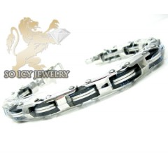 White Stainless Steel Black Enamel Link Bracelet