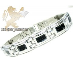 White stainless steel black carbon fiber box link bracelet