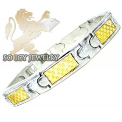 Two Tone Stainless Steel Yellow Pattern Checkered Link Bracelet