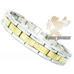 Two tone stainless steel multi-link design bracelet