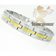 Two Tone Stainless Steel Multi-link Design Bracelet