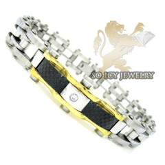 Two tone cz stainless steel carbon fiber bicycle bracelet