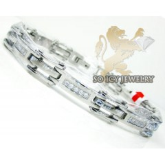 White Stainless Steel Cz Fashion Bracelet